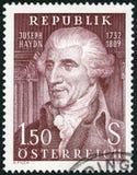 ÖSTERRIKE - 1959: shower Franz Joseph Haydn 1732-1809, kompositör Fotografering för Bildbyråer