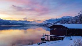 Österrike - solnedgång vid Millstatter sjön fotografering för bildbyråer