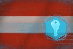 Österrike tillträdestangent kodad viruset för säkerhet för datorbegreppsprogramet vektor illustrationer