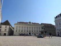 Österrike Wien, utsökt arkitektur av stenväggar av byggnader arkivbild