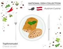 Österrikisk kokkonst Europeisk nationell maträttsamling Oststru royaltyfri illustrationer