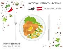 Österrikisk kokkonst Europeisk nationell maträttsamling Wiensk sc royaltyfri illustrationer