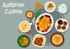 Österrikisk kokkonstmatställesymbol för menydesign royaltyfri illustrationer