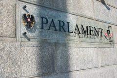 Österrikisk parlament på Oktober 13 i Wien Arkivbild
