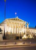Österrikisk parlamentbyggnad (Hohes Haus) i Wien Fotografering för Bildbyråer
