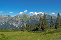 Österrikiska alps i sommar Arkivfoto