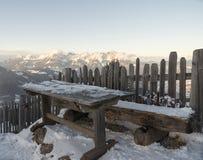 Österrikiska alps i vinter Arkivfoto