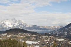 Österrikiska alps i vinter Royaltyfri Fotografi