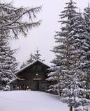 Österrikiska alps, wood kabin i vinter med snow Royaltyfri Fotografi