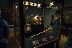 Österrikiska kronajuvlar - imperialistisk krona, Orb och Sceptre, Wien arkivbild