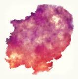 Östlich der BRITISCHEN Aquarellkarte Englands vor einem weißen Hintergrund lizenzfreie stockfotografie