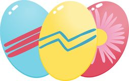 Östliche Eier (Blau, gelb und Rot) Stockfoto