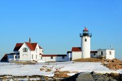 Östlig punktfyr, udde Ann, Massachusetts Arkivfoto