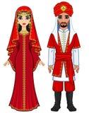 Östlig saga Animeringstående av den arabiska familjen i forntida kläder royaltyfri illustrationer