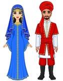 Östlig saga Animeringstående av den arabiska familjen i forntida kläder stock illustrationer
