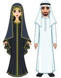 Östlig saga Animeringstående av den arabiska familjen i forntida kläder vektor illustrationer