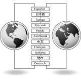 östlig västra värld för språköversättningar Arkivbild