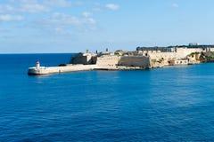 Östlig vågbrytare Ricasoli för storslagen hamn Fotografering för Bildbyråer