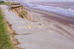 Östlig Yorkshire kusterosion Arkivfoto