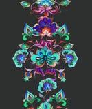 Östliga - europeisk blom- dekor - dekorativa blommor på mörk bakgrund blom- seamless för kant Vattenfärgband Royaltyfria Foton