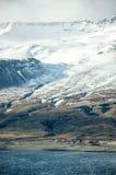 Östliga fjordar, blått hav, snöberg, Island Royaltyfri Fotografi