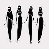 Östliga kvinnor i beslöjat Arkivbilder