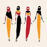 Östliga kvinnor i beslöjat Arkivfoto