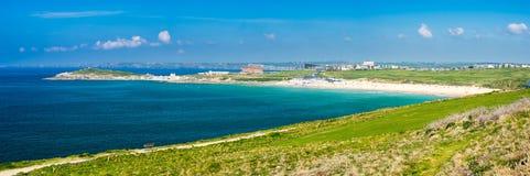 Östliga Pentire Newquay Cornwall England Arkivbild