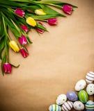 Östligt ägg, tulpan på brunt inpackningspapper royaltyfria foton