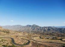 Östligt afrikanskt landskap nära lalibelaen Etiopien royaltyfri bild