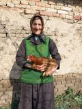 Östligt - europeisk gammal höna för bondekvinnainnehav royaltyfria bilder