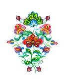 Östligt - europeiska dekorativa person som tillhör en etnisk minoritetblommor vattenfärg arkivfoton