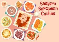 Östligt - för disksymbol för europeisk kokkonst festlig design royaltyfri illustrationer