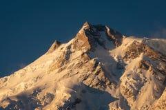Östligt maximum av den Nanga Parbat bergmassiven, Chilas, Pakistan arkivfoto