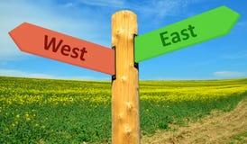 Östligt riktningstecken - västra Arkivfoton