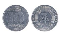 Östligt - skriva mynt för tysk tio arkivfoton