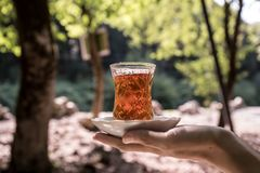 Östligt svart te i exponeringsglas på en östlig matta Östligt tebegrepp Armudu traditionell kopp baltisk havssolnedgång för bakgr fotografering för bildbyråer