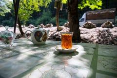 Östligt svart te i exponeringsglas på en östlig matta Östligt tebegrepp Armudu traditionell kopp baltisk havssolnedgång för bakgr arkivbilder