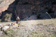Östligt svart te i glass utomhus- bergbakgrund Östligt tebegrepp Armudu traditionell kopp Grön natursommarbackgrou royaltyfri bild