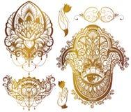 Östligt tema - lotusblomma, hamsa vektor illustrationer