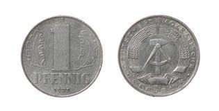 Östligt - tyskt mynt som isoleras på White Fotografering för Bildbyråer