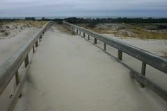 Östranddelstatspark Mil av sanddyn och den vita sandiga beaen Arkivfoto