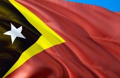 Östtimor flagga vinkande design för flagga 3D Det nationella symbolet av Östtimor, tolkning 3D Det nationella symbolet av Östtimo stock illustrationer