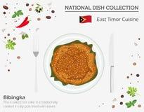 Östtimor kokkonst Asiatisk nationell maträttsamling Bibingka isolerade på vitt, infograpic vektor illustrationer