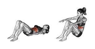 Öva för kondition Lyfta kroppen från en benägen position kvinnlig Arkivfoto