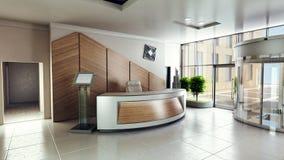 Öva påtryckningar ingången med mottagandeskrivbordet i en byggnad för affärsmitt Royaltyfri Foto