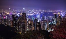 över center Hong Kong för regelutställninghamn som kowloon ser tagna victoria Arkivfoto