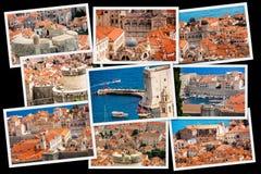 Över den gamla staden av Dubrovnik collage Arkivfoton
