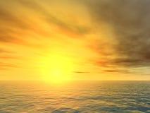 över den unforgiving havssolnedgången Arkivfoton