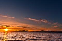 över havssolnedgång Fotografering för Bildbyråer